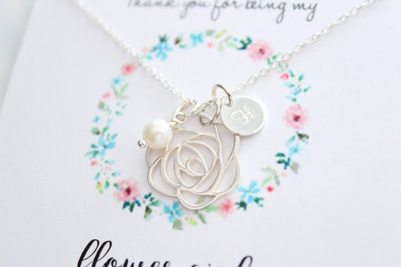 Flower Girl gift, Flower girl necklace, message card, initial necklace, freshwater pearl necklace, Bridesmaid Gift, Personalized Jewelry