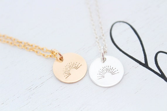Sunrise Necklace Gold, Sunrise,  Pendant Necklace, Charm Necklace, Gift for Her, Layering necklace
