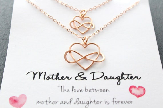 Mother Daughter necklace rose gold, Mother daughter gift, infinity Heart Necklace, set of 2, Mom necklace, Mother daughter jewelry