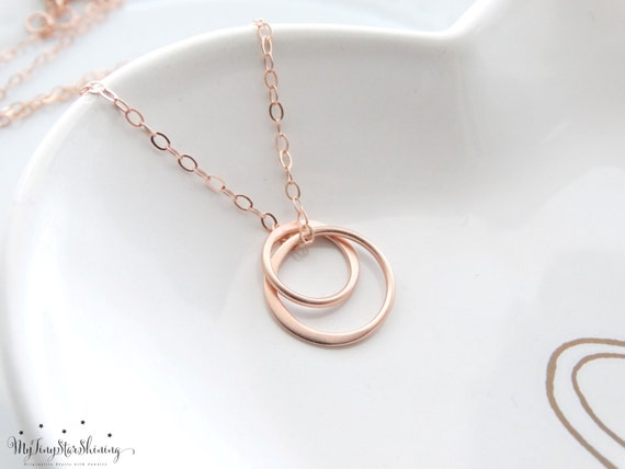 Rose Gold Necklace Eternity Necklace Sisters Necklace Eternity Circle Necklace Circle Necklace Two Circle Rings Pendant rose gold necklace