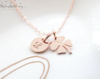 Four Leaf Clover Necklace Rose Gold Shamrock Necklace 14k Rose Gold Filled Necklace Initial Best friend gift Sisterhood birthday gift