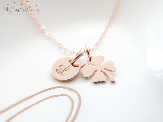 Four Leaf Clover Necklace Rose Gold Shamrock Necklace 14k Rose Gold Filled Necklace Initial Best friend gift Sisterhood birthday gift