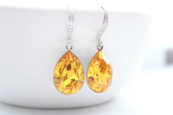 Citrine Earrings Swarovski Crystal Earrings for Bridal Earrings • Wedding Jewelry • Bridesmaid earrings • Bridesmaid Gift •  SUNFLOWER