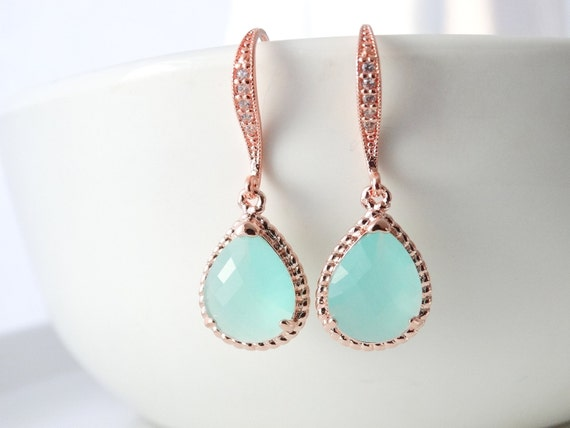 Green Earrings Rose Gold Earrings Mint Green Earrings and Necklace set Bridal Earrings Wedding Earrings Bridesmaid Gift Bridesmaid earrings