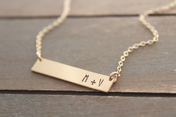 Personalized Bar Necklace in gold silver or rose gold, Gift for Her, Personalized Initial • Name Necklace