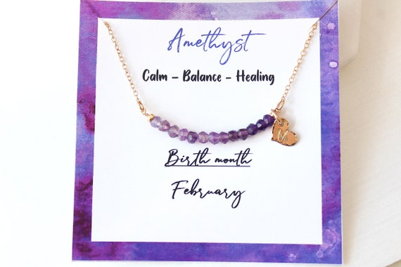 Personalized amethyst necklace, Custom initial necklace gold, February birthstone necklace for women, Amethyst Jewelry