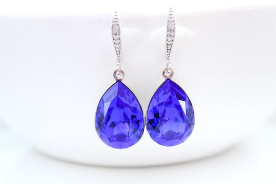 Swarovski crystal earrings dangle Blue Earrings • Sapphire earrings • Drop Earrings for Wedding Jewelry Bridesmaid gift Bridesmaid Earrings