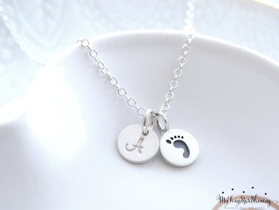 Mothers necklace, New mom, Baby necklace, Footprint charm necklace Sterling Silver, Baby Foot print Necklace, Footprint, Initial Necklace