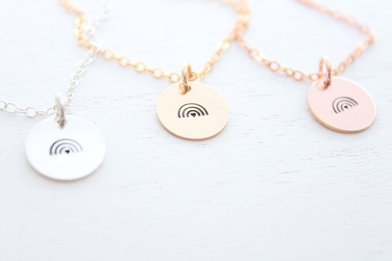 Rainbow necklace gold rose gold or silver, rainbow charm necklace. Minimalist, pride necklace. Rainbow baby necklace