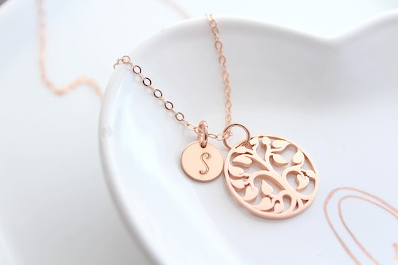 Family Tree Necklace Rose gold, Tree of life necklace rose gold, Mothers Necklace, Gift For Mom, Initial necklace, Personalized necklace