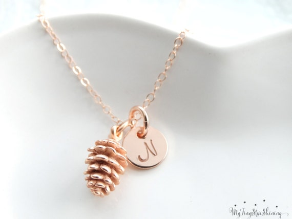 Rose Gold Pinecone Necklace Pinecone Pendant Fall Gifts Pinecone Jewelry Initial necklace rose gold filled Necklace Autumn Jewelry