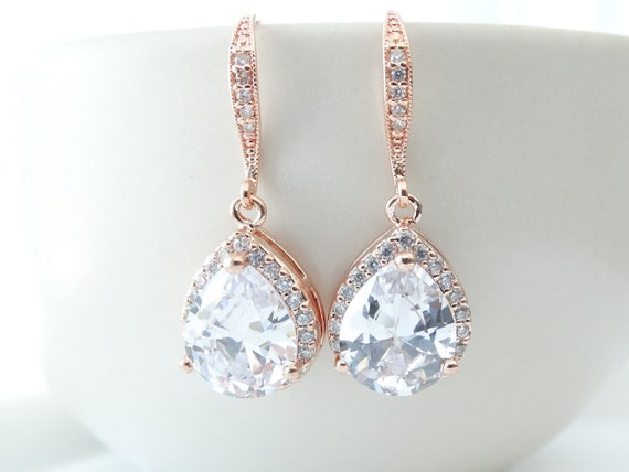 Bridal Earrings Rose Gold Cubic Zirconia Teardrop Bridal Earrings  Bridesmaid Jewelry Wedding Jewelry Bride Earrings