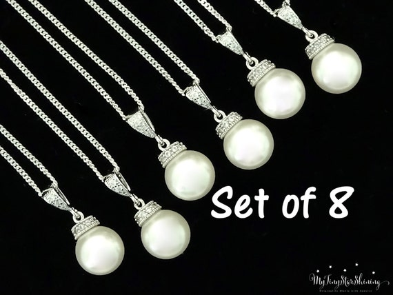 Set of 8 Bridesmaid Pearl Necklaces Bridesmaid Gift Swarovski Crystal Pearl Necklace Bridal Jewelry Pearl Wedding Gift 15% Discount