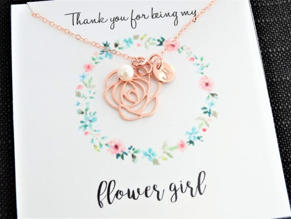 Flower Girl gift  Flower girl necklace initial necklace freshwater pearl necklace Bridesmaid Gift Personalized Jewelry Rose gold Necklace