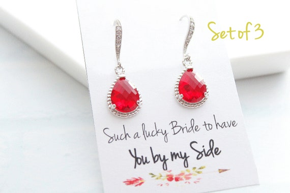 Set of 3 Bridesmaid Earrings Wedding Jewelry Bridal Earrings Ruby Red Earrings Emerald Earrings Wedding Jewelry Choose your color