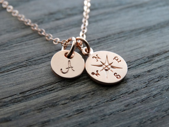 Compass Necklace rose gold, Travel Necklace, Graduation gifts, College Graduation, Compass pendant, Best friend Gift, Personalized jewelry