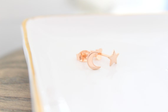 rose gold stud earrings star and moon earrings stud earrings  celestial star and moon earrings  tiny stud earrings cute earrings Silver