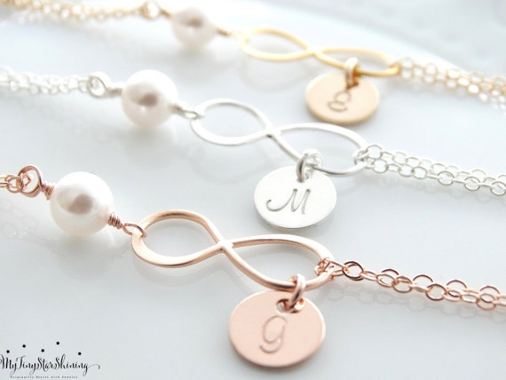 Infinity Bracelet with initials Pearl bracelet Bridesmaids Gifts Mother's day Gift Initial Bracelet personalized infinity bracelet