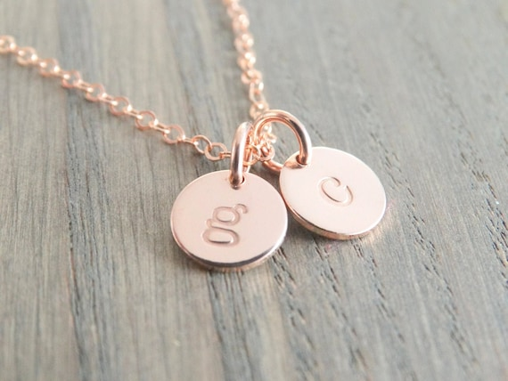 Rose gold initial necklace with monogram necklace, personalized jewelry, letter charm necklace, Christmas gift