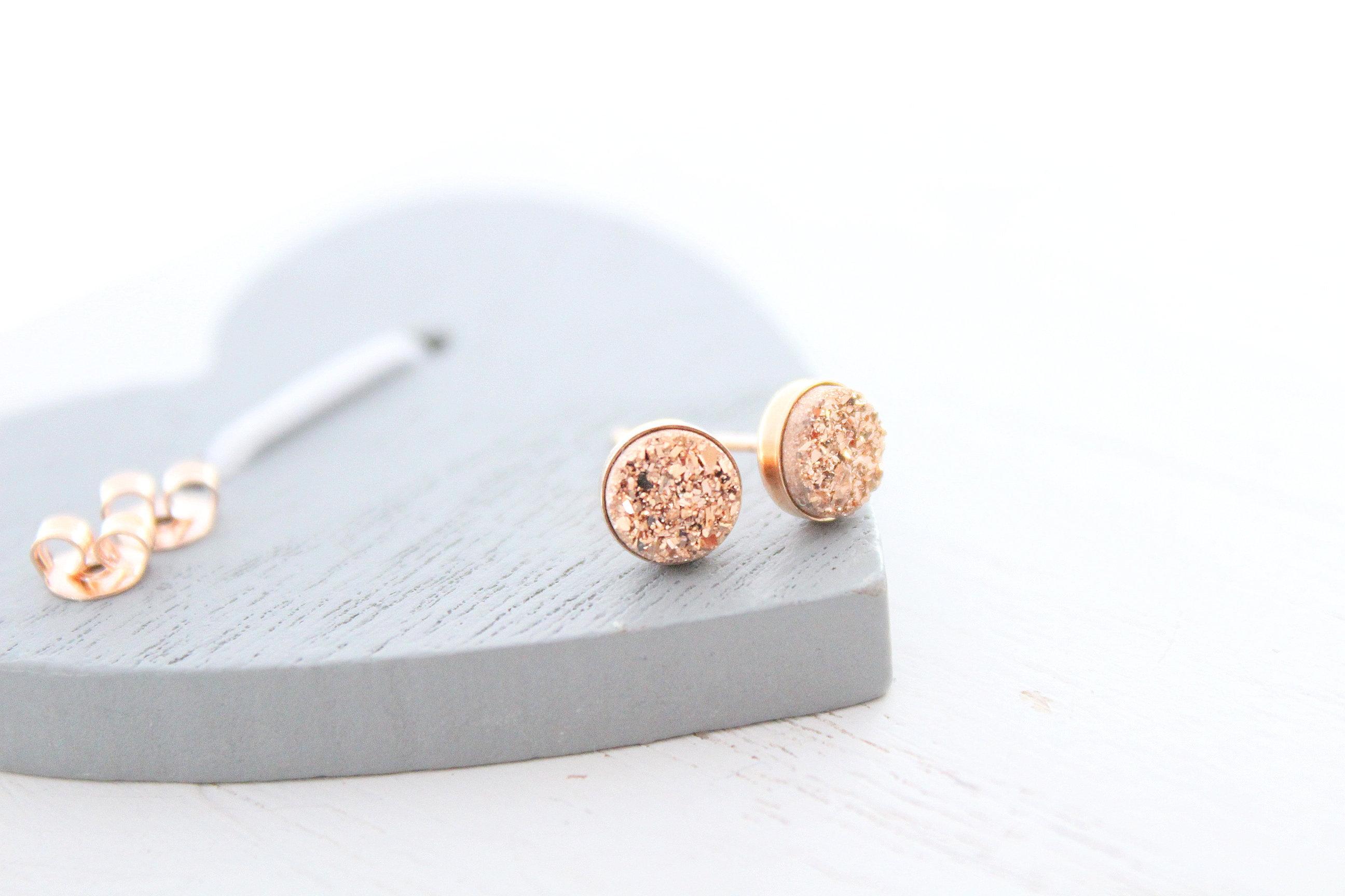 Rose Gold Druzy Stud Earrings Rose Gold Stud Earrings Rose Gold Druzy Earrings