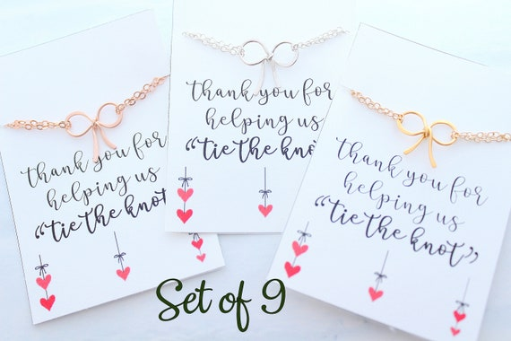 Set of 9 Bow bracelets set Bridesmaid gift Tie the Knot bracelets for bridesmaids Bracelet bridal party jewelry Silver Bow Bracelet