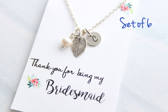 Personalized Jewelry leaf necklace Silver Initial Necklace Fall Wedding Jewelry Bridesmaid Necklace Bridesmaid Gift Rustic wedding Set of 6