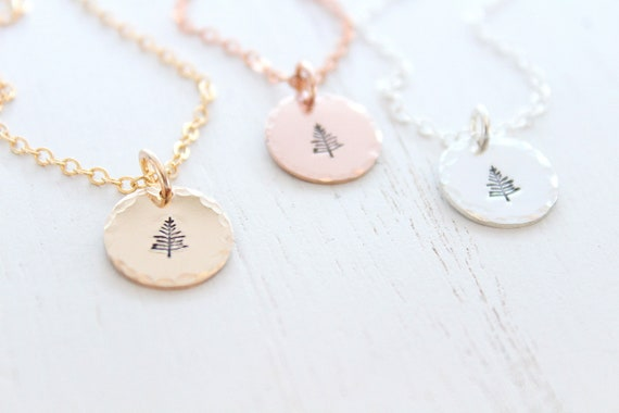 Tree Necklace in silver, gold or rose gold Pinetree Necklace Evergreen necklace, pine tree pendant necklace, Winter Tree Necklace