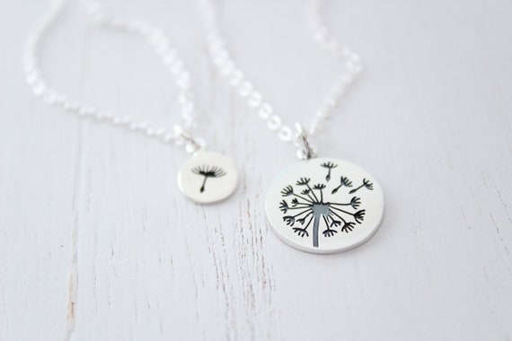 Dandelion necklace silver, dandelion jewelry, mother daughter gift from daughter set of 2, Mothers Day Gift