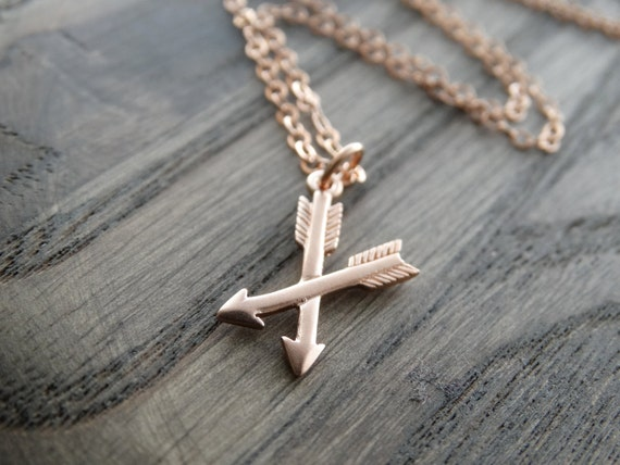 Rose Gold Arrow Necklace Rose Gold Arrow Jewelry Crossed Arrows Necklace Rose gold necklace