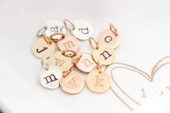 Inital Charm gold Initial charm silver Initial letter charm Personalized letter charm Rose Gold initial charm sterling silver TW