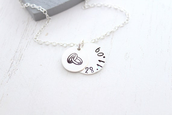 Wedding Gift for Bride, Personalized Wedding Date Necklace , Soulmate necklace, Bridal Shower Gift
