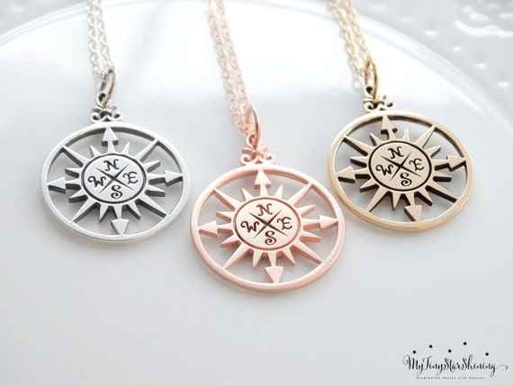 Best Friend necklace Friendship necklace Compass Rose Necklace Sterling silver Compass Necklace personalized graduation Choose your  finish