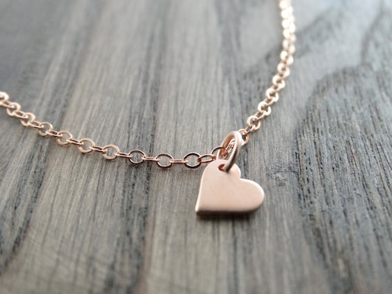 Tiny Heart Necklace, Small Heart Dangle, Heart Necklace, Rose gold Heart necklace, Love Necklace