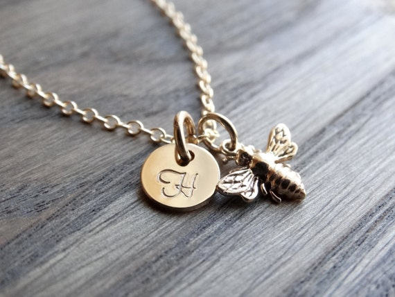 Gold Honey Bee Necklace Gold Initial Charm Necklace Personalized Necklace Hand Stamped Initial Charm Gold Filled Bumble Bee Necklace