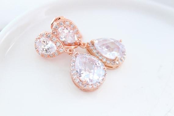 CLIP ON earrings Bridal Earrings Wedding Jewelry Cubic Zirconia Wedding Earrings Bridesmaid Gift Clip ons silver Earrings Rose gold Earrings
