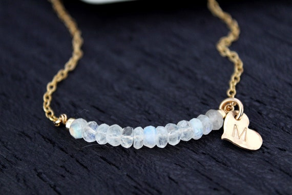 Personalized Moonstone necklace, Custom initial necklace gold Gemstone necklace May birthstone necklace for women, Moonstone Jewelry