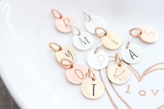 Inital Charm Initial pendant Initial letter charms Personalized letter charm Sterling Silver initial charm Rose Gold initial charm MG