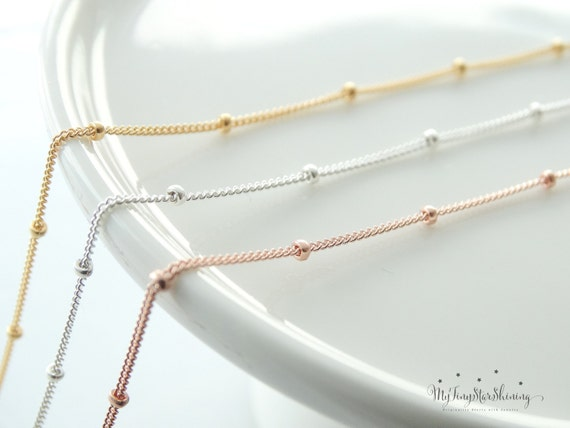 Rose Gold Necklace, Rose Gold Chain Necklace, Rose Gold Satellite Chain Necklace, Rose Gold Filled Necklace, Sterling silver Chain Necklace