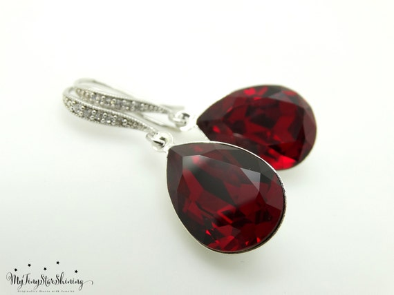 Red Earrings Swarovski Crystal Earrings Siam Bridal Earrings Ruby Red Jewelry Bridesmaid Gift Dark Red Earrings Bridal Earrings