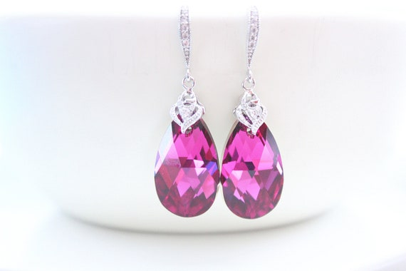 Fuschia Earrings Dark Pink Earrings Swarovski Crystal Earrings Bridesmaid Earrings Wedding jewelry Bridal Earrings Bride Earrings
