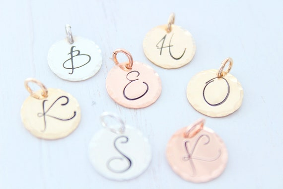 Initial Charm • Sterling Silver charm • Initial Letter Charm • Personalized Initial Charm • Add Charm • Initial disc • Personalized Jewelry