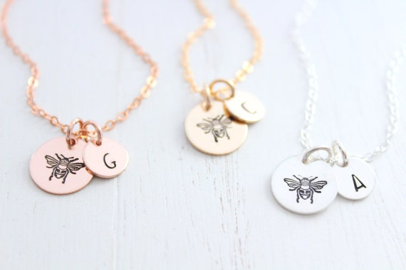 Honey bee necklace silver, Bumble bee necklace, sterling silver bee necklace, queen bee necklace, Christmas gift