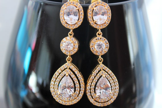 Gold Bridal earrings Gold Wedding jewelry Swarovski Crystal Wedding earrings Bridal jewelry Zirconia Earrings Teardrop Earrings Bride
