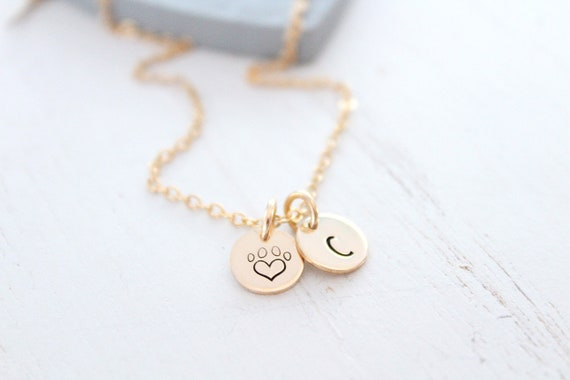 Puppy Love Paw Necklace Gift for Dog, Personalized Pet Initial Necklace, Personalized Pet Jewelry