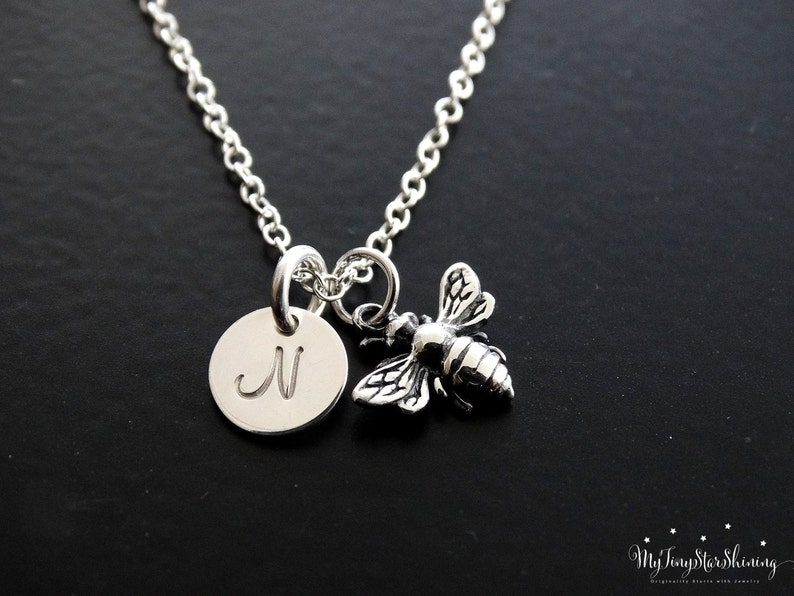 Bee Necklace Silver Bee Jewelry Honeybee Necklace Bumble image 0
