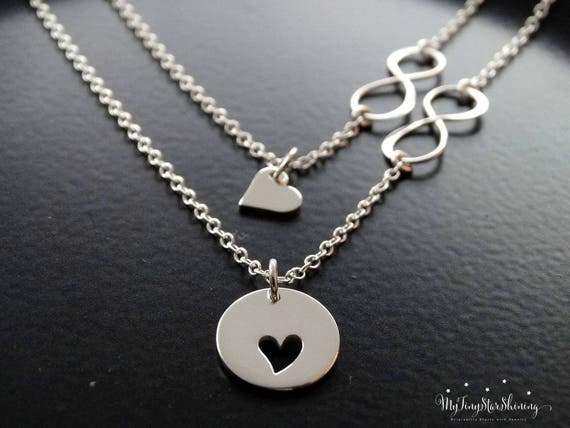 Infinity heart necklace silver, Mother Daughter necklace sterling silver, Mother Daughter gift for mom necklace, Daughter necklace from mom