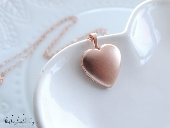 Rose Gold Locket Necklace Heart Locket Necklace in Rose Gold Rose Gold Heart Locket Pendant