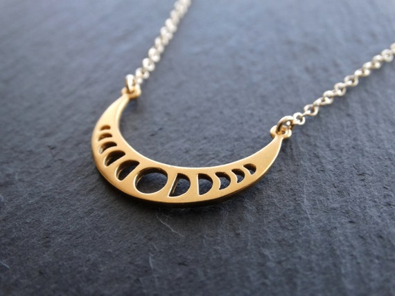 Moon Phases Necklace Gold Moon Necklace Sterling silver Moon Jewelry Moon Phases Pendant Celestial Jewelry Moon Charm Crescent Moon Gold