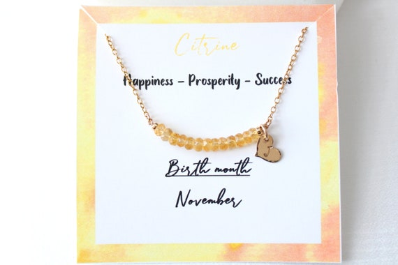 Personalized Citrine necklace, Custom initial necklace gold, November birthstone necklace for women, Citrine Jewelry