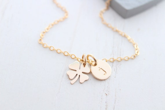 Four leaf clover necklace in gold. Shamrock necklace with Initial necklace. Best friend gift, birthday gift, St Patrick's Day gift